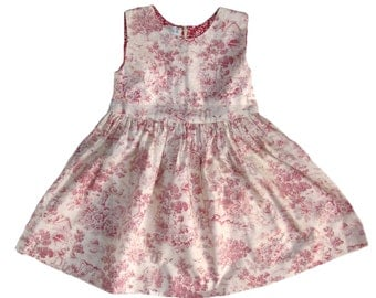 Girl Toile Dress in Pink