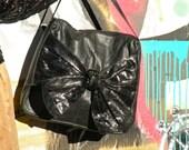 SALE - DiVina Leather Bag - snakeskin bow bag - 1980s vintage purse - large leather bag - black leather - 80s designer vintage - laptop bag
