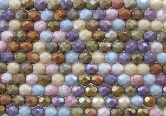 6mm Faceted Opaque Lumi Luster Color Mixed Firepolish Czech Glass Beads - Qty 25 (D54)