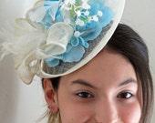 Ivory fascinator hat Blue fascinator sky blue fascinator hat LILA ICEQUEEN