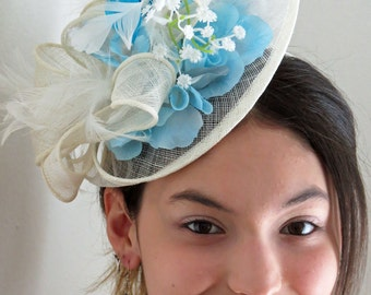 Ivory fascinator hat Blue fascinator sky blue fascinator hat LILA ICEQUEEN