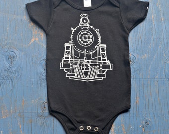 Baby train onesie - kids train gift - steam train baby bodysuit - train onesie for babies - black baby onesie - cool baby gift - boy or girl
