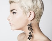 Lace earrings - Synapse - Black lace with bronze chain