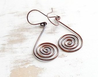 Spiral Earrings, Copper Wire Jewelry, Metalwork Earrings, Geometric Jewellery, Hand Forged Earrings, Bohemian Jewelry