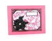 Birthday card, elegant, feminine, pink damask black, for her, magnolia flower, PERSONALIZED card