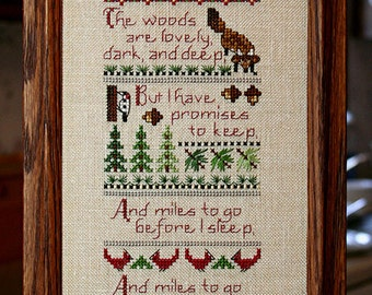 Cross Stitch Pattern Woodland Sampler / Verse by Robert Frost