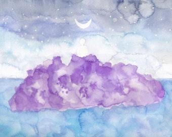 Moonlit Meditation on Amethyst Island - 8x10 Watercolor Painting Print - Bamboo Fine Art Paper