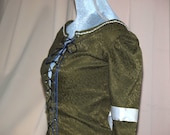 Medieval Gown - Green Brocade & Blue Satin