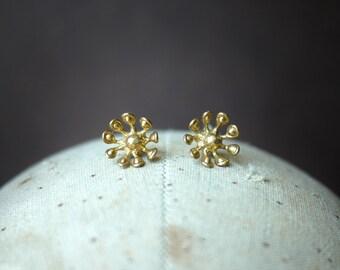 Brass Flower Studs Earrings