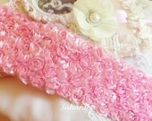 """PINK Satin Shabby 5 Rows Rosette Trim- 2.75""""x 1 yard for Boutique Dresses, Bloomers, Altered Crafts"""