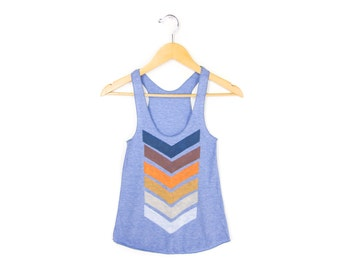 Geo Chevron Tank - Racerback Scoop Neck Swing Tank Top in Heather Blue - Women's Size S-3XL Q