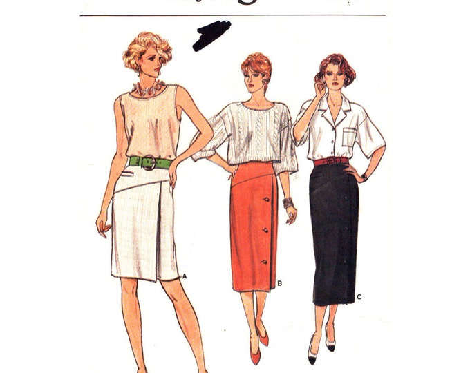 Womens Skirt Pattern Vogue 9250 Shaped Yoke Skirt Mock Welt Three Length Skirt Size 8 10 12