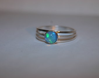 Sterling Silver Ring with 6mm Welo Opal Cabochon- Size US 6 1/2 - Ready to Ship