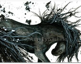 Majestic Horse - DreamWalker Friesian- Abstract ArT Prints by Bihrle mm105