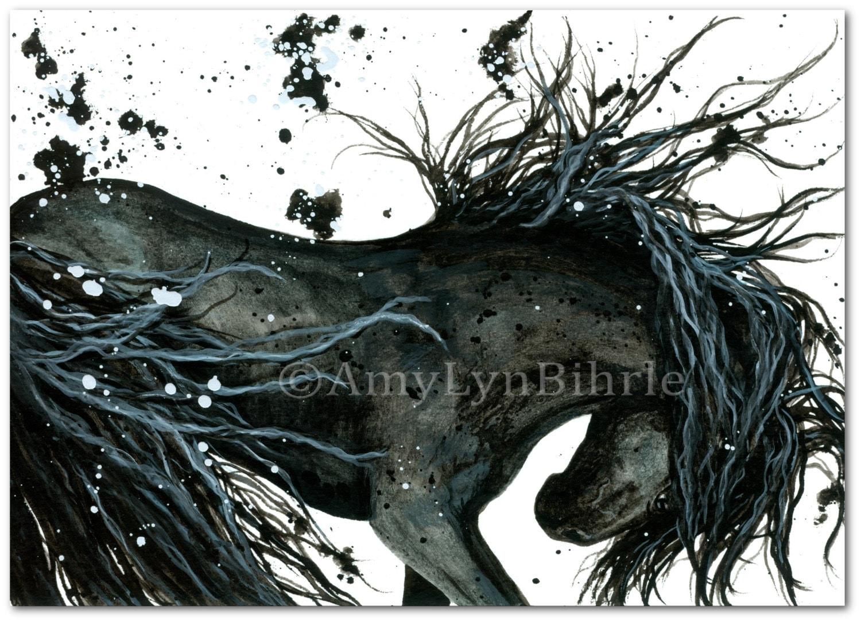 Majestic Horse Dreamwalker Friesian Abstract Art Prints By