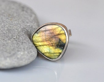 Labradorite Sterling Ring - Statement, natural gemstone cabochon, bezel set sterling silver fine silver, Golden Yellow, Oxidized, soldered