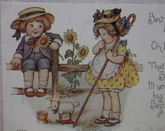 Cute Kids on Fence w/ Sunflowers - Hats - Toy Lamb - Artist Signed Vintage Birthday Postcard - 1915