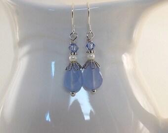 Blue Chalcedony Earrings - White Glass Pearl Earrings - Blue Sapphire Earrings - Swarovski Earrings - Silver Earrings - Wire Earrings - E028