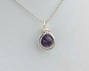 Amethyst Necklace, February Birthstone, Purple Pendant, Amethyst Gemstone, Pancreatic Cancer, Alzheimers, Fibromyalgia, Lupus