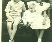 RPPC Happy Baby Sister Brother Girl Boy Bill Mabel James Epperson Real Photo Postcard Antique Vintage Black White Photo Photograph