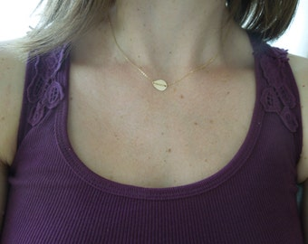 delicate gold necklace, dainty gold necklace, hammered teardrop, simple gold necklace, chain detail, bridesmaids gift, wedding necklace gold