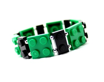 Geek Bracelet in Green and Black - made from New LEGO® Pieces