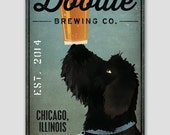 Black Doodle FREE CUSTOMIZATION Labradoodle Brewing Company Beer Sign Stretched Canvas Wall Art Ready-to-Hang Doodle