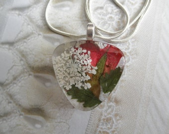 Peace & Love-Red Rosebud,Queen Anne's Lace Pressed Flower Glass Triangle Pendant-Symbolizes True Love,Peace Nature's Art-Gifts for 27