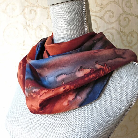 Silk Scarf Hand Painted in Brown, Navy and Copper