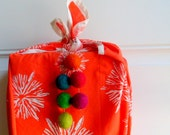 Bright Color Drop ornaments - gift wrap packagin -  Five bright felt ball ornaments - fun gift tags - rainbow ornaments - rainbow party tags