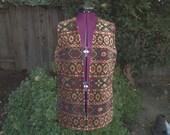 Carpet Vest Tapestry Vest Chenille Vest Hippie Vest Festival Vest 1960s Carpet Vest 1970s Carpet Vest Aladdin Vest Bohemian Vest Boho Vest