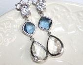 Blue Crystal Bridal Earrings, Sapphire Teardrop Statement Rhinestone Earrings Wedding Blue dazzling Luxury Earrings Something Blue Jewely