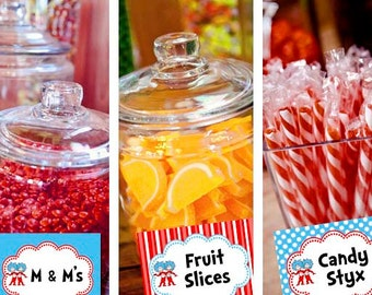 Dr. Seuss Thing 1 2 Candy Table Buffet Label Baby Shower Printable - Stick to Your Story