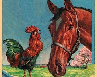 vintage horse and rooster farm animals illustration digital download