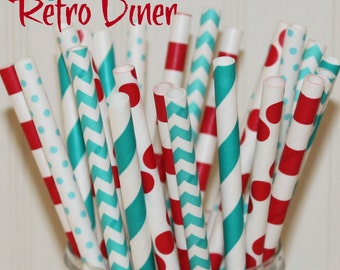 Paper Straws, 25 Retro Diner Party Paper Straws, MADE IN USA, Red and Aqua Paper Straw, Retro Soda Shop Party Straw, Retro Straws, Birthday