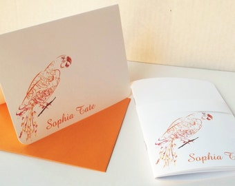 Orange Parrot Notebook and Note card Stationery Set .  Personalized Set of 10 notecards w/ envelopes and coordinating mini journal.