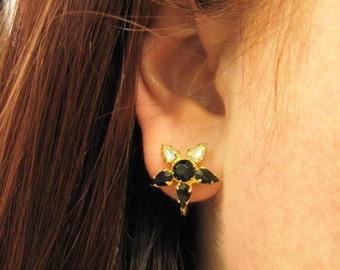 Black Star Earrings, Black Rhinestone Earrings, Black Diamond Earrings, Gold Screw Back Earrings, Black Star Jewelry, Clear Rhinestones