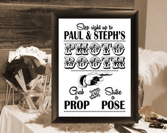 Wedding Photo Booth Sign. Style #4. Digital File, Wedding Sign, Reception DIY Printable, Photo Prop Sign with Bride & Groom Names.