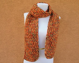 Embers Scarf for Men or Women - Brown, Yellow, Orange Scarf - Scarves - Autumn Scarf - Fall Scarves - Crochet, Crocheted Warm, Long Scarf