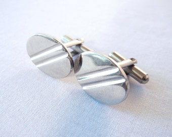 Silver Oval Cufflinks, Deco Midcentury Slash Design, Men's Wedding Fashion, Atomic Style, 50s