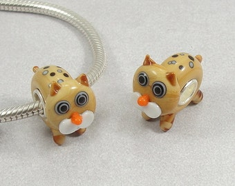 Orange Cat Large Hole Lampwork Glass Bead - 925 Sterling Silver European Bead Charm