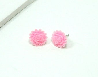 Stud Earring - Baby Pink Rose Stud - Rose Earrings - Light Pink