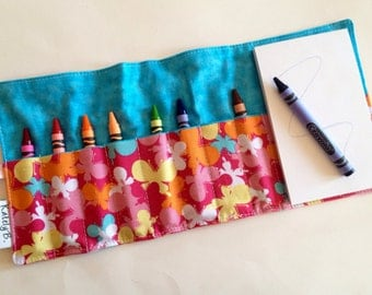 Crayon Roll Up - Crayon Holder - Kids Organizer with Pad & Crayons - Butterflies