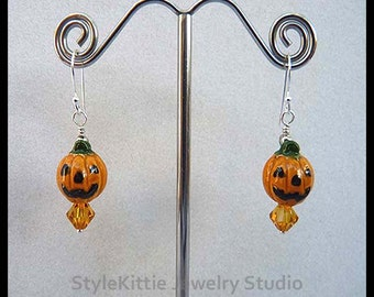Carved Pumpkin, Dangle Earrings, Jack O Lantern, 925 Sterling Silver, Ceramic, Swarovski Crystals, Orange, Green, Black, Fall, Jewerly