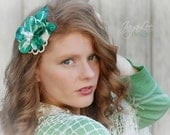 Green Hawaiian Hair Flower Retro PinUp Floral Headpiece