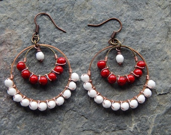 Chandelier earrings, beaded Hoop earrings, gypsy earrings, red and white, colorblock jewelry, wire wrapped hoop earrings, custom colors