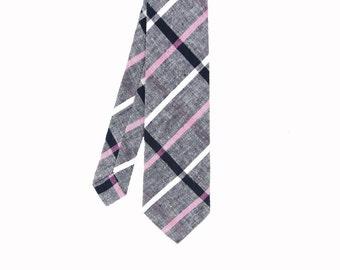 Andie - Gray/Pink Plaid Linen Men's Tie