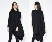 Black Tunic / Loose Fitting Top / Assymetrical Blouse / Long Sleeve Tunic - MB103