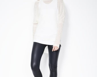 High Low Sweater / Asymmetric Blouse / Oversized Cardigan / See-through Blouse / marcellamoda k - MB124