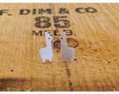 Little llama Sterling Silver Hipster Llama studs - post earrings